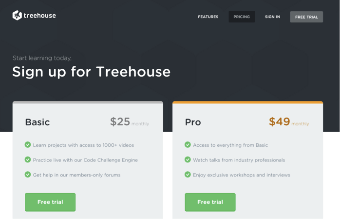 Pricing page example