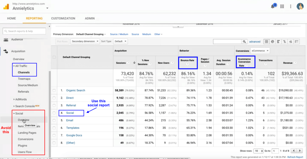 google analytics social report 1.28.06 PM