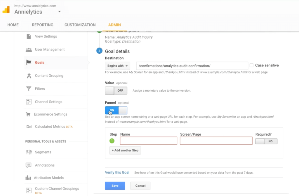 setting up google analytics funnels