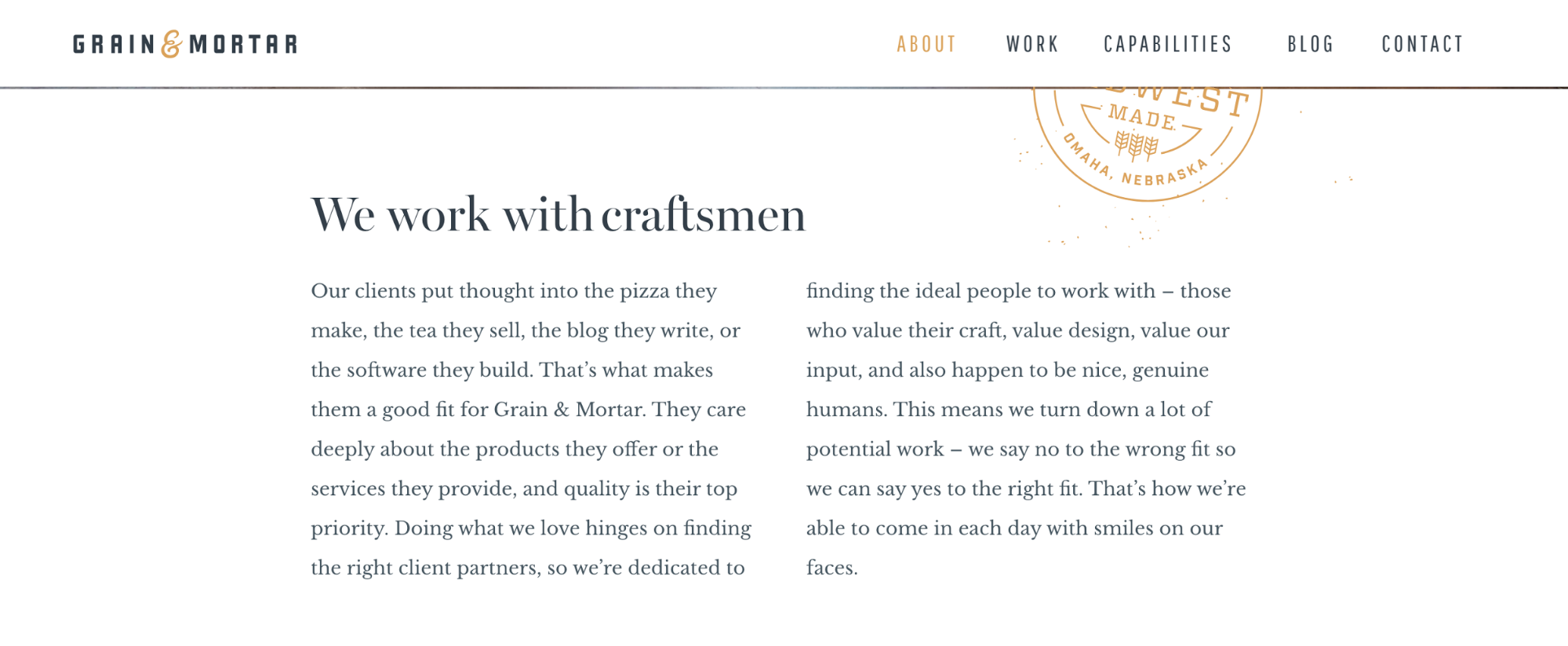 Grain Mortar About Us page