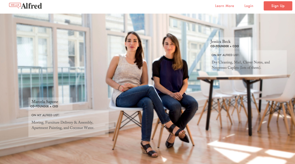 Alfred feature the two co-founders how they personally use their service. on their about us page