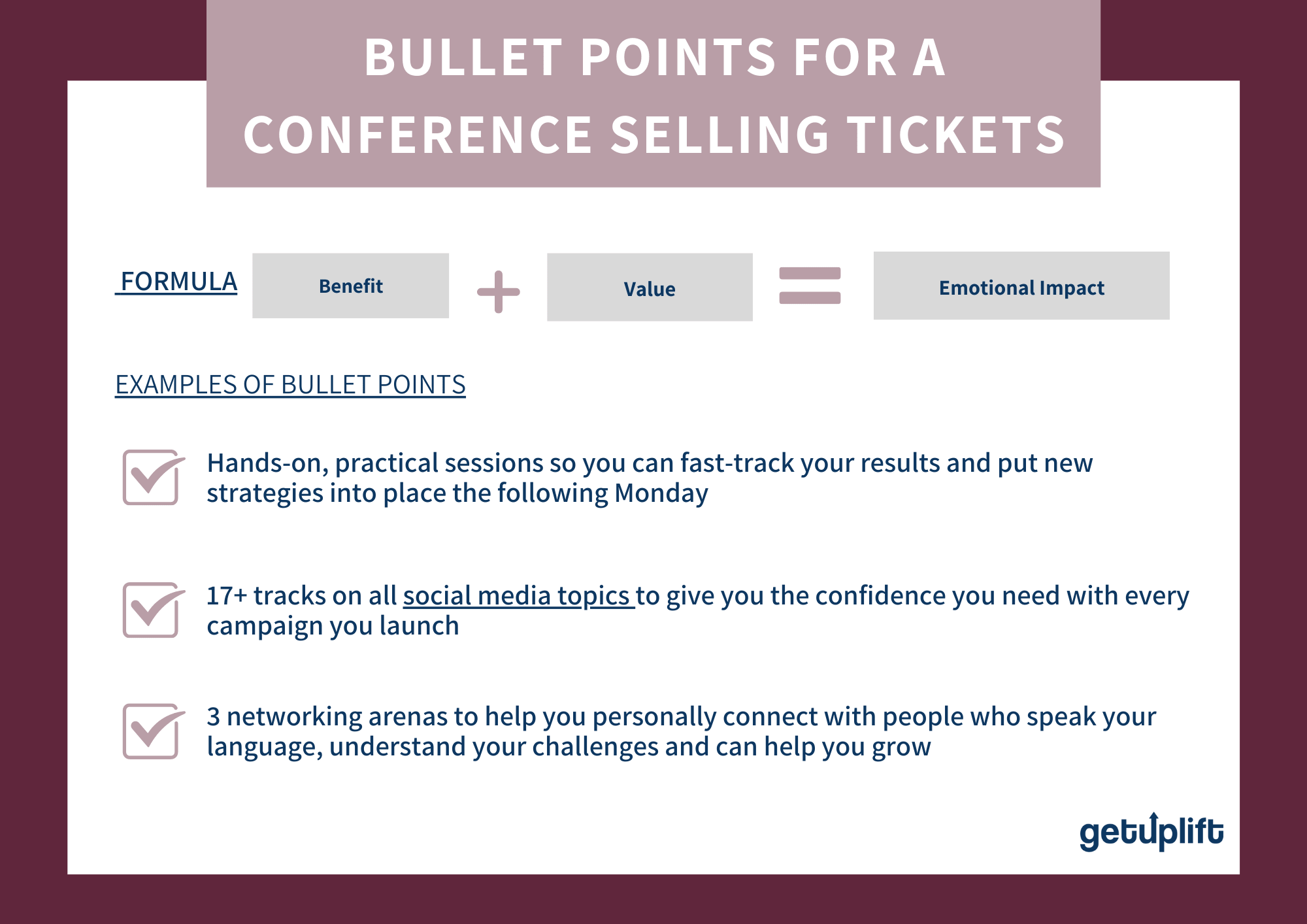 Example of how to use bullet points for landing page optimization